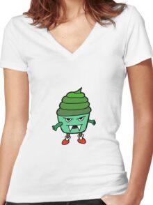 GREEN MUFFIN MONSTER Women's Fitted V-Neck T-Shirt