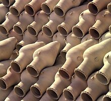 Amphoras Outside A Pottery Near Amman, Jordan. by Peter Stephenson