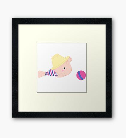 Kids cartoon bunny Framed Print