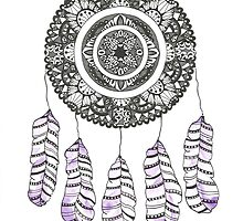 Watercolor and Ink dreamcatcher by Ibubblesart