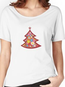 Spring Flowers Whimsical Christmas Tree Women's Relaxed Fit T-Shirt