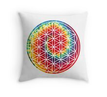 Inverted Tie-dye Flower of Life Throw Pillow