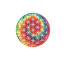 Inverted Tie-dye Flower of Life Photographic Print