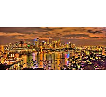 """Lights Camera Action"" - Sydney Harbour - Moods Of A City - The HDR Experience Photographic Print"
