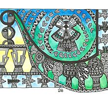 Ukrainian Culture Inspired Ink and Watercolor print by Ibubblesart