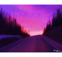 Northern road at night in purple abstract Photographic Print