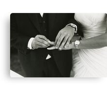 Bride and groom exchanging wedding rings in mariage ceremony black and white analog 35mm film photo Canvas Print
