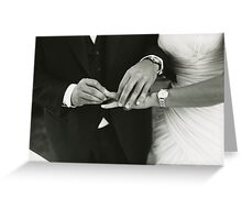 Bride and groom exchanging wedding rings in mariage ceremony black and white analog 35mm film photo Greeting Card