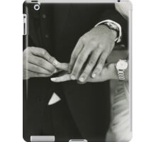 Bride and groom exchanging wedding rings in mariage ceremony black and white analog 35mm film photo iPad Case/Skin
