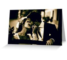 Bride and groom kissing in wedding marriage sepia 35mm film Greeting Card