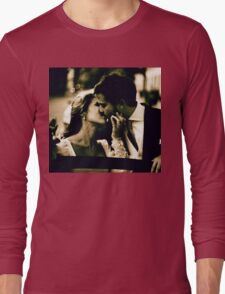 Bride and groom kissing in wedding marriage sepia 35mm film Long Sleeve T-Shirt