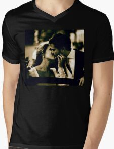 Bride and groom kissing in wedding marriage sepia 35mm film Mens V-Neck T-Shirt