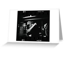 Bride and groom kissing in wedding sepia 35mm film negative strip Greeting Card