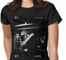 Bride and groom kissing in wedding sepia 35mm film negative strip Womens Fitted T-Shirt