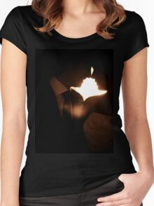 Bride and groom kissing in wedding marriage sepia 35mm film Women's Fitted Scoop T-Shirt