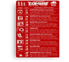 Zombie Defense Guide -white- Canvas Print