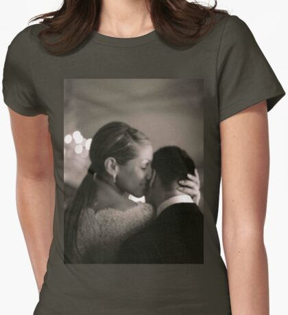 Bride and groom kissing in wedding sepia medium format film Womens Fitted T-Shirt