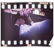 Wedding bride and bridegroom in car 35mm slide film strip Poster