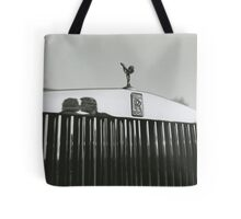 Bride and groom kissing reflected in Rolls Royce car black and white analog 35mm film photo Tote Bag