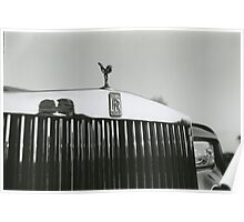Bride and groom kissing reflected in Rolls Royce car black and white analog 35mm film photo Poster