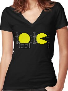 Pac Man Busted! -pixel version-  Women's Fitted V-Neck T-Shirt