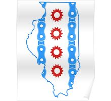 Chicago Flag in Illinois State Outline Poster