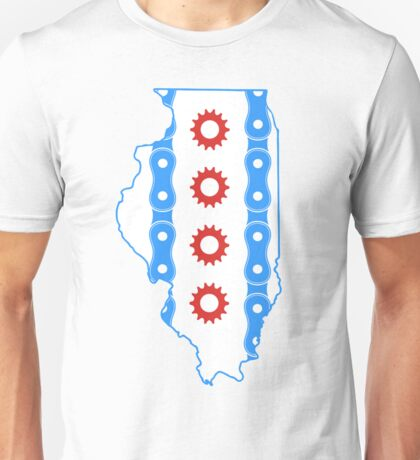 Chicago Flag in Illinois State Outline Unisex T-Shirt