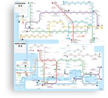 Hong Kong-Shenzhen metro map  Canvas Print