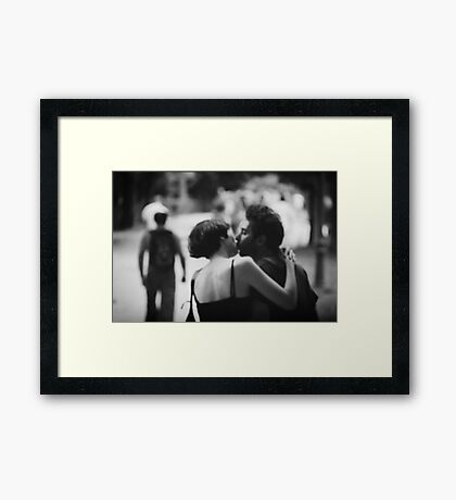 Man and woman kissing in park in black and white analog 35mm film photo Framed Print