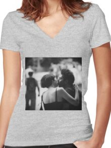 Man and woman kissing in park in black and white analog 35mm film photo Women's Fitted V-Neck T-Shirt