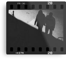 Man and woman holding hands in film noir analog 35mm film photo Metal Print