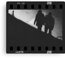 Man and woman holding hands in film noir analog 35mm film photo Canvas Print