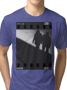 Man and woman holding hands in film noir analog 35mm film photo Tri-blend T-Shirt