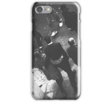 Couple walking in street black and white analog 35mm film photo iPhone Case/Skin