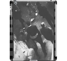 Couple walking in street black and white analog 35mm film photo iPad Case/Skin