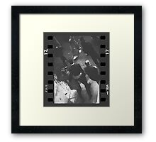 Couple walking in street black and white analog 35mm film photo Framed Print