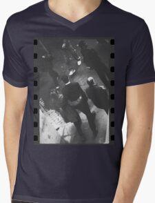 Couple walking in street black and white analog 35mm film photo Mens V-Neck T-Shirt