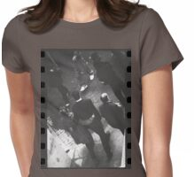 Couple walking in street black and white analog 35mm film photo Womens Fitted T-Shirt