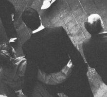 Couple walking in street black and white analog 35mm film photo Sticker