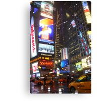 Snowy Night in Times Square Canvas Print
