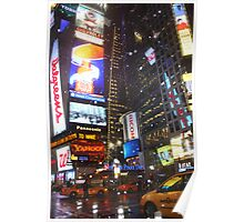 Snowy Night in Times Square Poster