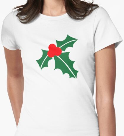 Holly christmas Womens Fitted T-Shirt