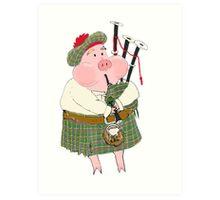 Bagpipe Pig Art Print
