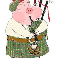 Bagpipe Pig by Jennifer Kilgour