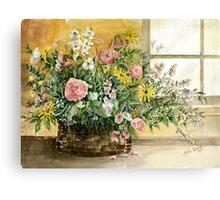 Basket Bouquet Canvas Print