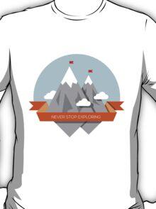 Mountain illustration. Never stop exploring T-Shirt