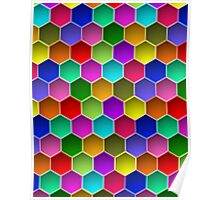 Multi-colored Hexagon Pattern Poster
