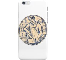 Cheesemaker Cutting Cheddar Cheese Etching iPhone Case/Skin