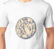 Cheesemaker Cutting Cheddar Cheese Etching Unisex T-Shirt