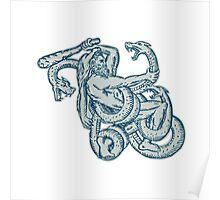Hercules Fighting Hydra Club Poster